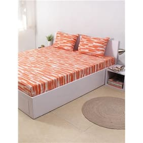 House This The Rough Strokes 100% Cotton King Bedsheet and 2 Pillow Covers - Orange