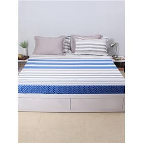 House This The Jester Stripes 100% Cotton 1 Double Fitted BedSheet & 2 Pillow Covers - Navy
