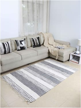 House This The Gruff Strokes 100% Cotton Floor Rugs - Grey