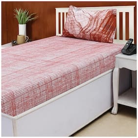 House This Textured Canyon Cotton Single Bed Sheet & 1 - Red