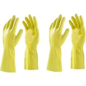 HouseHold Cleaning HandGloves Washing Gloves Rubber Hand gloves Hand Care Glove ( 2 PAIR)