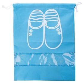 Household Travel Dust-proof Shoe Organizer Bags with Drawstring Transparent Window Waterproof Non-Woven Travel Shoes Storage Bag Case Organizer (light Blue S)