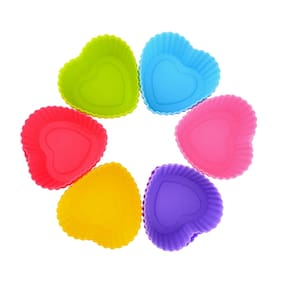 Hua You 6 Pcs Silicone Muffin Heart Shape Medium Mould
