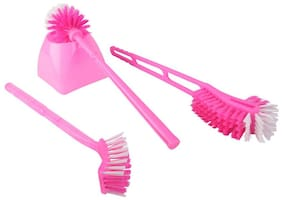 HUM COMBO SET OF THREE MULTIPURPOSE TOILET CLEANING BRUSH WITH SQAURE CONTAINER(ASSORTED COLORS)