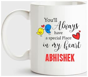 Huppme Abhishek Always Have A Special Place In My Heart Love White Coffee Name Ceramic Mug