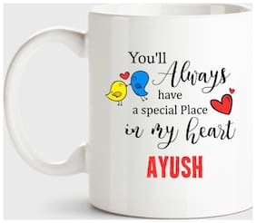 Huppme Ayush Always Have A Special Place In My Heart Love White Coffee Name Ceramic Mug