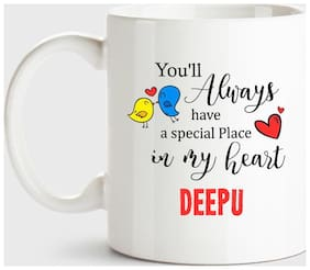 Huppme Deepu Always Have A Special Place In My Heart Love White Coffee Name Ceramic Mug