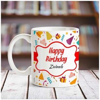 Huppme Happy Birthday Zainab name coffee mug