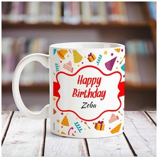 Huppme Happy Birthday Zeba name coffee mug