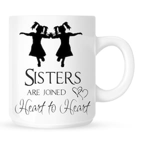 Huppme Sisters Are Joined Heart To Heart White Mug
