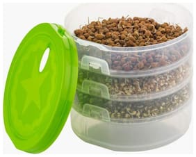 Hygienic Sprout Maker with 4 Compartments for Multi Purpose Use - 1 L Plastic Grocery Container;Utility Box