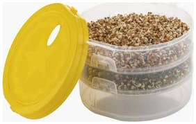 Hygienic Sprout Maker with 3 Compartments for Multi Purpose Use - 1 L Plastic Grocery Container;Utility Box