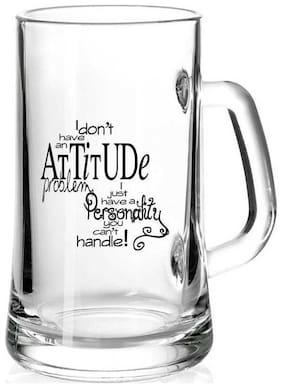 I don't have an Attitude Problem White Glass Printed Juice /Milk/ ColdDrinkds &  Beer Mug by Juvixbuy