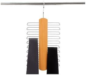 I-Gadgets 18 Bar Wooden Space Saving Tie Hanger - Beige