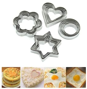 i-gadgets Cookie Cutter Stainless Steel Cookie Cutter With 4Shape, 12 Pieces