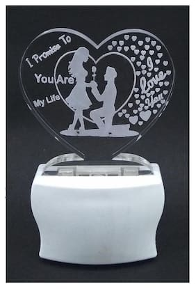 I Promise To You Are My Life Heart Shape Night Lamp (Multicolored)