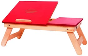 Ibs Red Matte Finish With Drawer 565 Solid Wood Portable Laptop Table (Finish Color - RED)