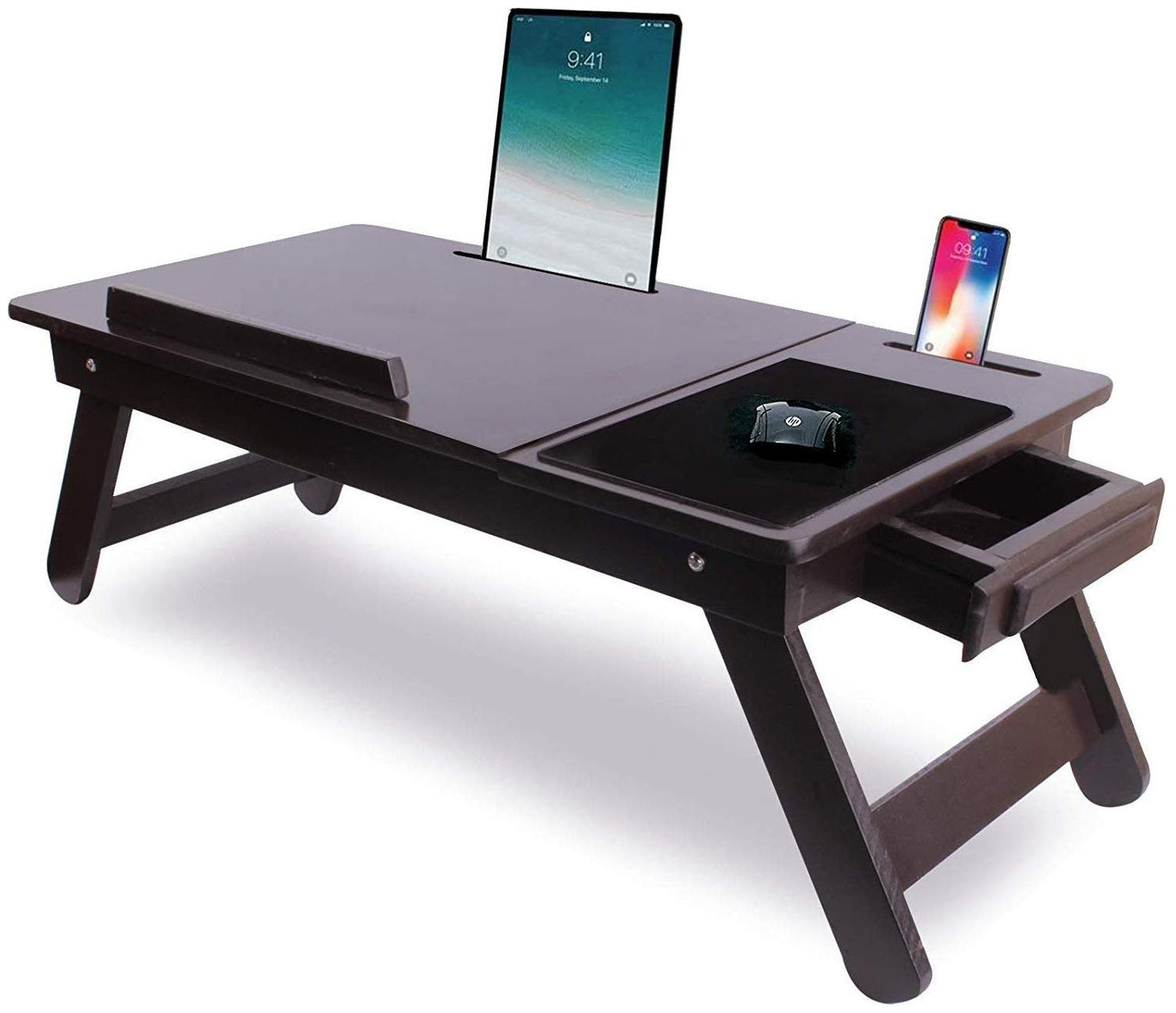IBS Wooden Adjustable Foldable Multi-Function Portable Laptop Table/Study Table