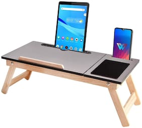 IBS Wooden Adjustable Foldable Multi-Function Portable Laptop Table/Study Table (Grey) Pack of 1