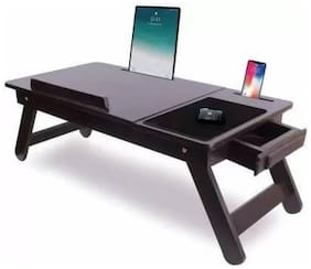 IBS Wooden Adjustable Foldable Multi-Function Portable Laptop Table/Study Table (Brown) Pack of 1