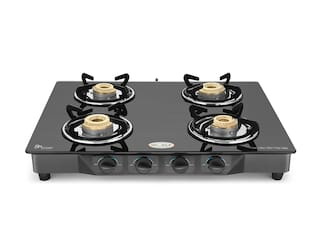Ideale 4 Burner Glass Top Manual Gas Stove