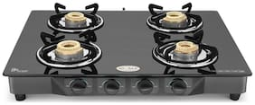 IDEALE 4 Burner Manual Regular Black Gas Stove