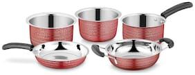 Ideale Cookware Set Texture Red-5pcs