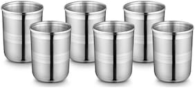 Ideale Daavat Glaas Tumbler-6 PCs Glass Set  (Steel, 350, Silver, Pack of 6)