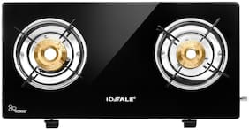 IDEALE IDEALE 2 Burners Stainless Steel With Glass Top Gas Stove - Black