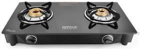 IDEALE 2 Burners Stainless Steel With Glass Top Gas Stove - Black