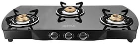 IDEALE 3 Burners Stainless Steel With Glass Top Gas Stove - Black
