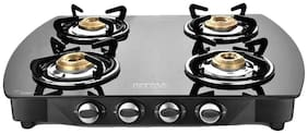 IDEALE 4 Burners Stainless Steel With Glass Top Gas Stove - Black
