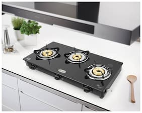 IDEALE 3 Burner Regular Black Gas Stove ,