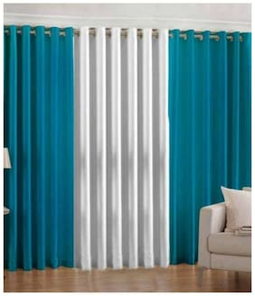 IDOLESHOP Polyester Blue, White Plain Door Curtains (7 ft in Height, Pack of 3)