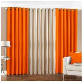 IDOLESHOP Polyester Orange, Beige  Plain Door Curtains (7 feet in Height, Pack of 3)