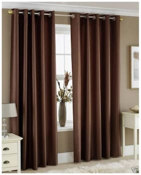IDOLESHOP Polyester Brown Plain Long Door Curtains (9 feet in Height, Pack of 2)