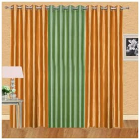 IDOLESHOP Polyester Gold, Green Plain Long Door Curtains (9 ft in Height, Pack of 3)
