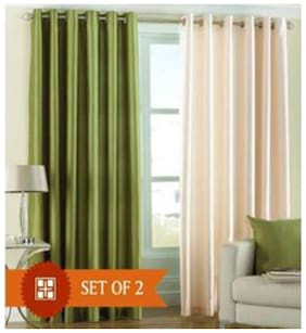 IDOLESHOP Polyester Green, Beige Plain Door Curtains (7 feet in Height, Pack of 2)