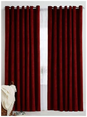 IDOLESHOP Polyester Maroon Plain Long Door Curtains (9 ft in Height, Pack of 2)