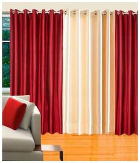 IDOLESHOP Polyester Maroon, Beige Plain Door Curtains (7 ft in Height, Pack of 3)