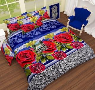 9e25e0762b IDOLESHOP Polycotton Double 3D Printed Bedsheet (1 Bedsheet & 2 Pillow  Cover, Multicolor)