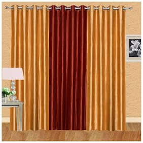 IDOLESHOP Polyester Gold, Red Plain Long Door Curtains (9 ft in Height, Pack of 3)