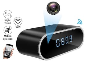 IFITech HD 1080p WiFi Hidden Spy Camera Table Clock with Night Vision;Motion Detection/Loop Recording for Home Surveillance;Nanny Clock - Live View on Phones