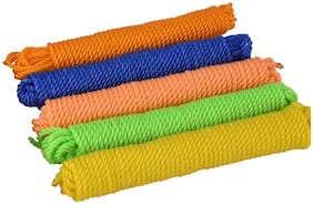 IGNOTO Nylon Twisted Multipurpose Outdoor Clothes Drying Wire/rassi ||  Anti-Rust and Anti Slip Laundry Clothesline String (15 Meter, Pack of 5, Assorted Color)