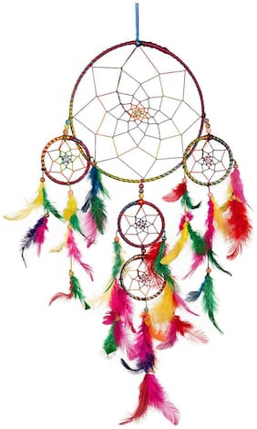 ILU Dream Catcher Wall Hanging Handmade Beaded~ 1 Big and 4 Small Circular Net with Feather Decoration Ornaments Size 21cm Diameter Multicolor