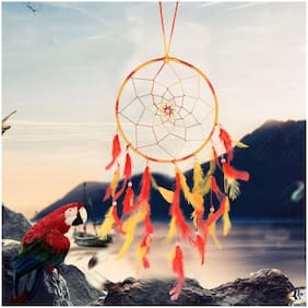 ILU Dream Catcher Wall Hanging Handmade Beaded Circular Net with Feather Decoration Ornaments Size 17cm Diameter_Yellow & Red