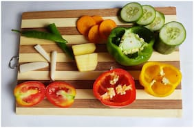 ImegaZ Natural Wooden Cutting Board for Kitchen Vegetables,Fruits,Bread & Cheese,Eco-Friendly Oval Shape 32x22x2 cm