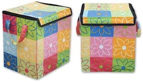 Kihika Fabric Assorted Laundry Basket ( Set of 1 )