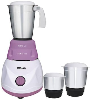 Inalsa ASTRA LX 600 W Mixer Grinder ( White & Purple , 3 Jars )
