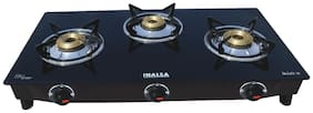 Inalsa DAZZLE 3 Burners MS Powder Coated With Glass Top Gas Stove - Black